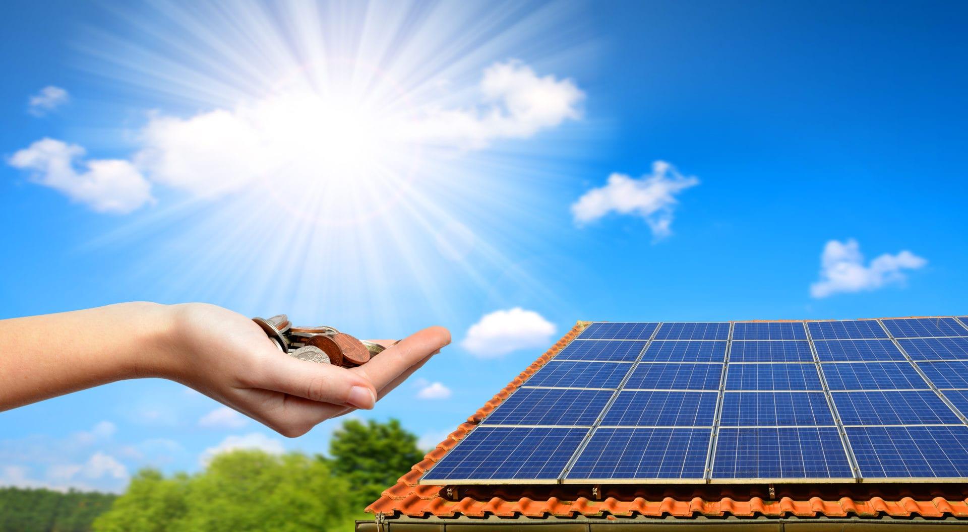 solaranlage hand sonne