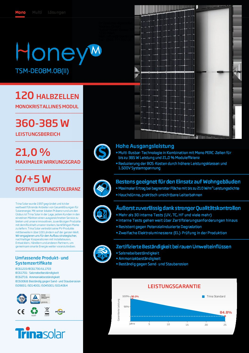 photovoltaik modul datenblatt trina honeym de08m 08ii 2021 a pdf