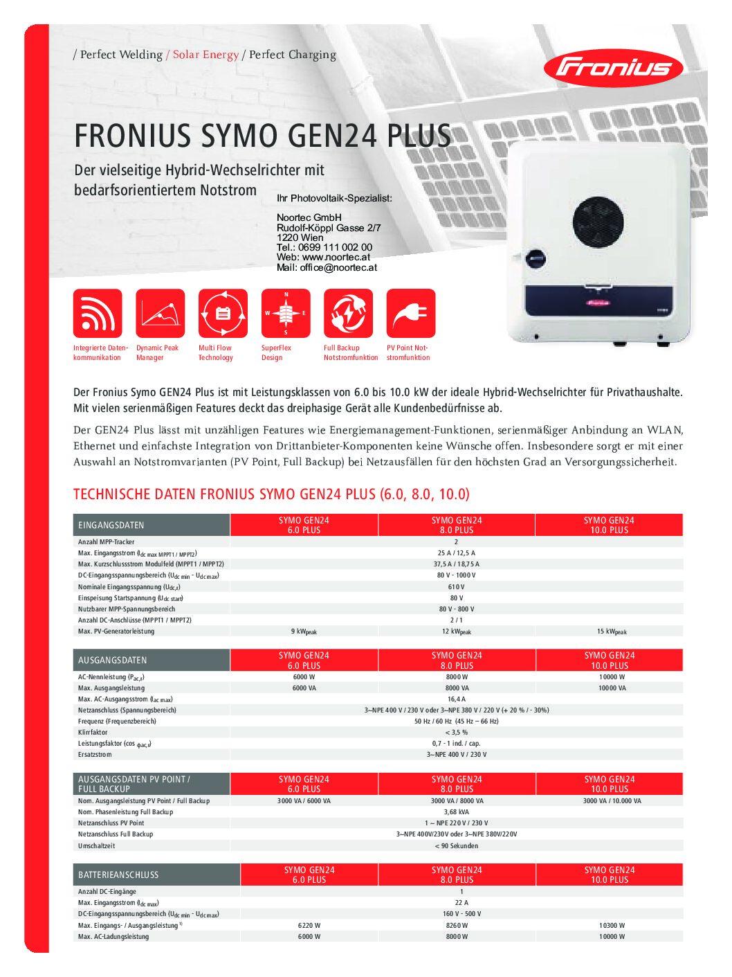 wechselrichter datenblatt fronius symo gen24 plus pdf