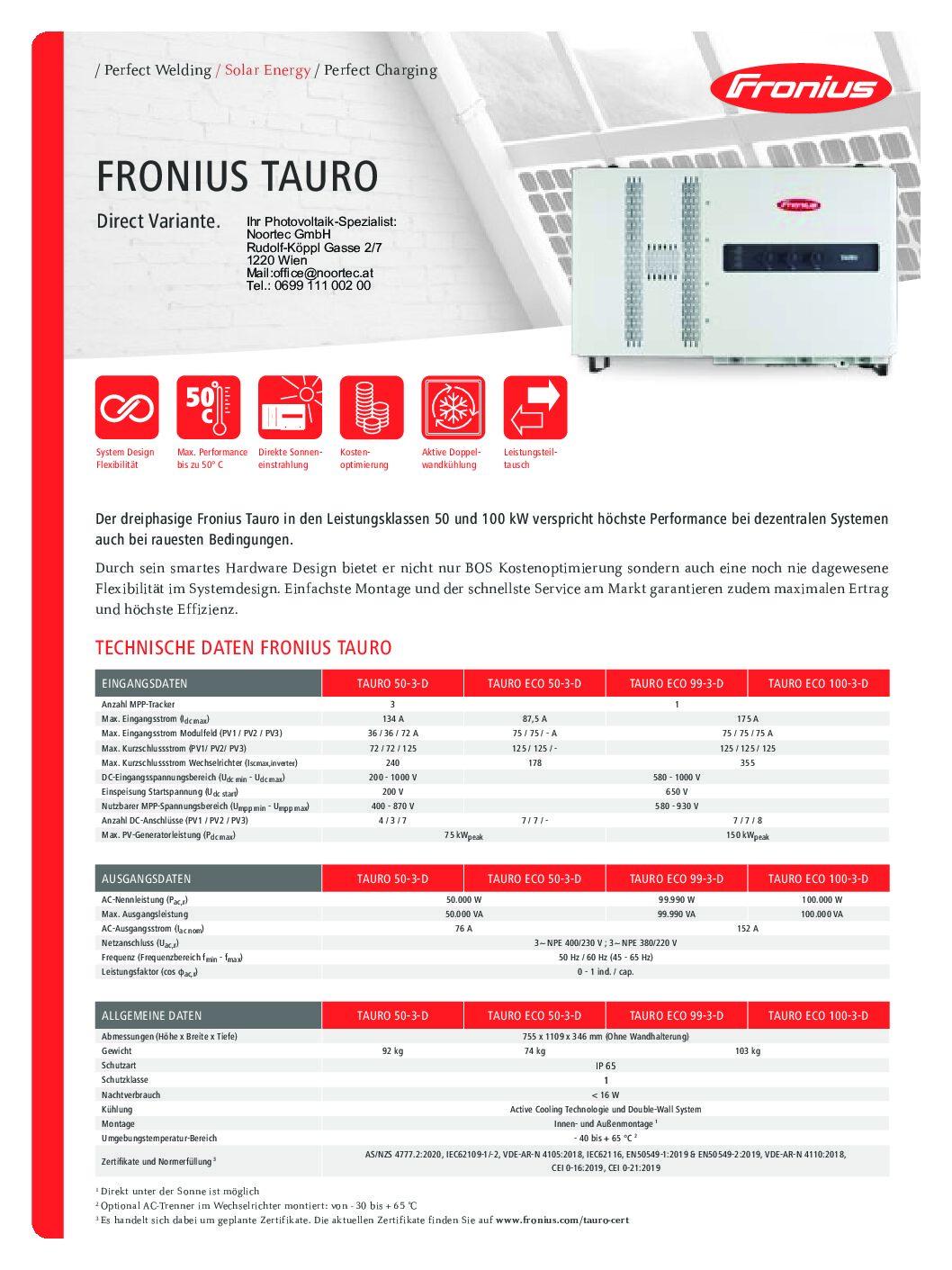 wechselrichter datenblatt fronius tauro pdf